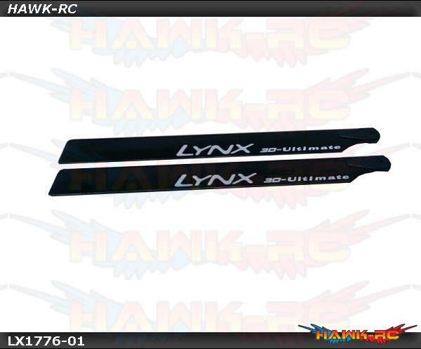 Lynx Carbon Plastic Main Blade 250mm - 2Pcs, Black