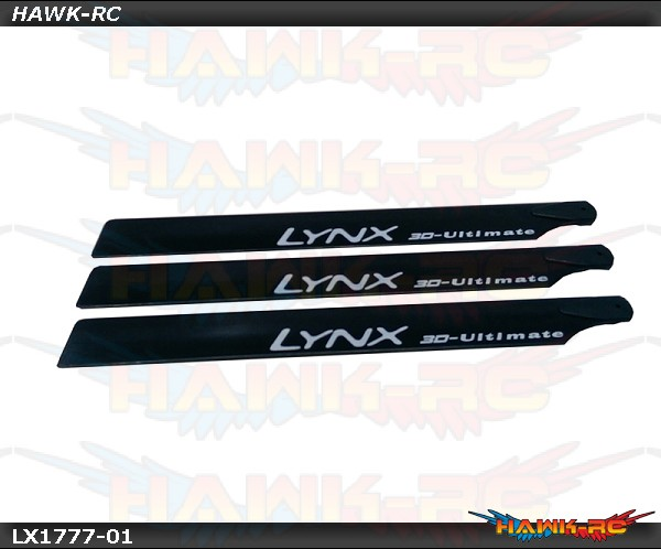 Lynx Carbon Plastic Main Blade 250mm - 3Pcs, Black