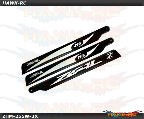 ZEAL Carbon Fiber Main Blade 255mm - White (Tri Blades)