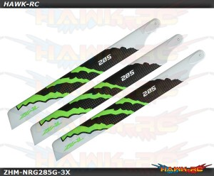 ZEAL Energy 3-Blade Carbon Fiber Main Blades 285mm (Green)