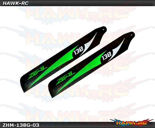 ZEAL Carbon Fiber Blades 138mm (Green) - 130X