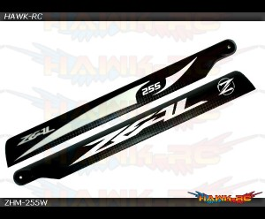 ZEAL Carbon Fiber Main Blade 255mm (White)