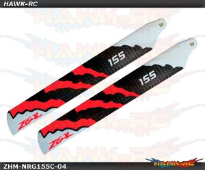 ZEAL Carbon Fiber Main Blades 155mm Energy (Neon Orange) - 180CFX