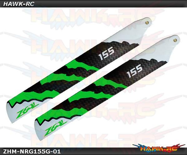 ZEAL Carbon Fiber Zeal Blades 155mm Energy (Neon Green) - 180CFX