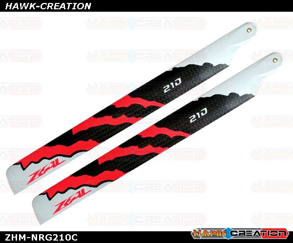 ZEAL Carbon Fiber Main Blades 210mm Energy (Neon Orange)