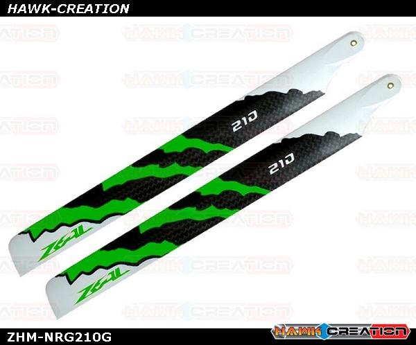 ZEAL Carbon Fiber Main Blades 210mm Energy (Green)