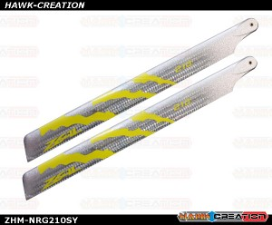 ZEAL Energy Silver Carbon Main Blades 210mm (Neon Yellow)