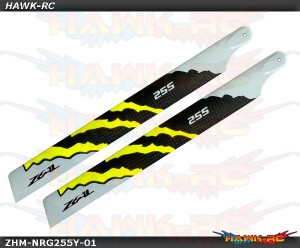 ZEAL ENERGY Carbon Fiber Main Blades 255mm (Yellow)