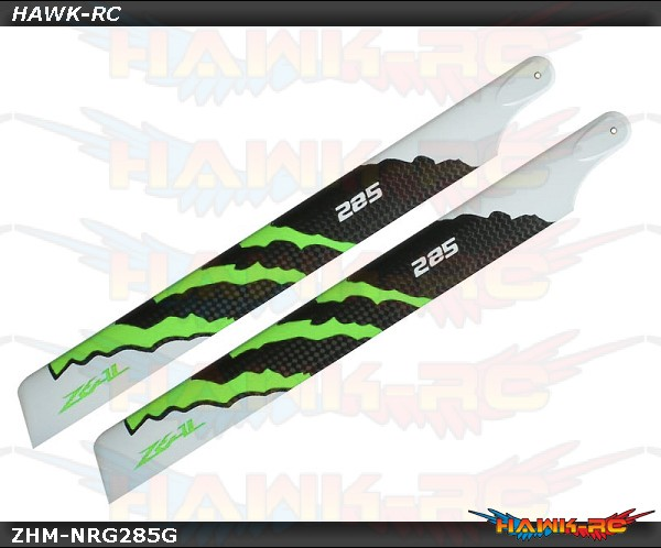 ZEAL Carbon Fiber Main Blades 285mm Energy (Green)