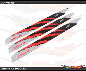 Zeal Carbon Fiber 3-Blades 360mm Energy (Neon Orange)