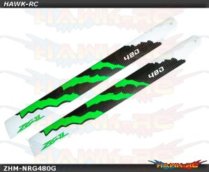 ZEAL Carbon Fiber Main Blades 480mm Energy (Green)
