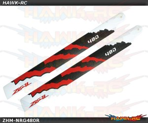 ZEAL Carbon Fiber Main Blades 480mm Energy (Red)