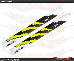 ZEAL Carbon Fiber Main Blades 480mm Energy (Yellow)