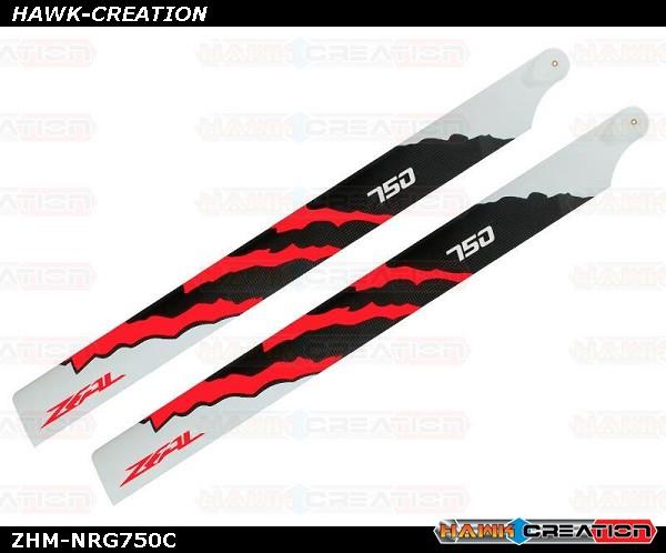 ZEAL Carbon Fiber Main Blades 750mm Energy (Neon Orange)