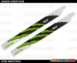 ZEAL Carbon Fiber Main Blades 750mm Energy (Green)