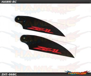 Zeal Carbon Fiber Tail Blades 68mm (Neon Orange)
