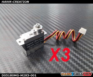 Programable D05180MG-M Full Metal Gear and Metal Top and Lower Case Micro Size Servo180 CFX Hard 3D Edition Combo (3pcs) -Version 2
