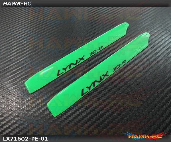 LYNX Plastic Main Blade 160 mm Green - Pro Edition -180CFX