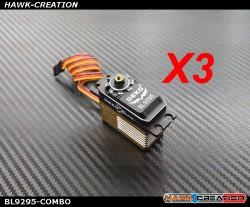 DEKO BL9295 Brushless Digital Standard Size Servo ( 0.06s, 22kg @ 8.4V ) - COMBO (3pcs)