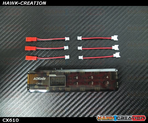 AOKoda CX610 6CH DC/XT60/USB Battery Charger for 3.7V 1S Lipo Battery