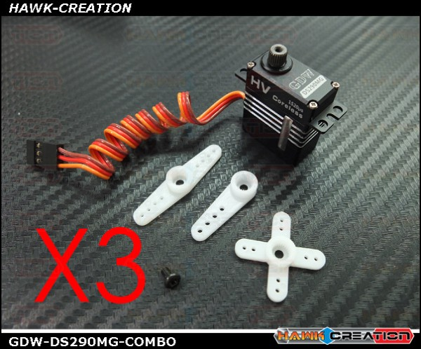 GDW DS290MG Digital Micro Size Servo Combo (Coreless 4.8Kg.cm@7.4V,0.065s/60degree) -3pcs