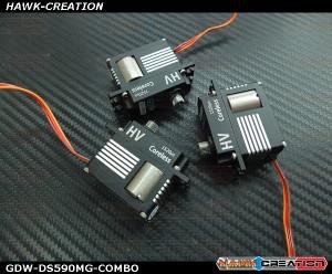 GDW DS590MG Digital Mini Size Servo - COMBO 3pcs (Black)(Coreless 12Kg.cm@8.4V,0.07sec/60degree)