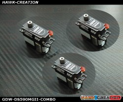 GDW DS590MGII Digital Mini Size Servo - COMBO 3pcs (Black)(Coreless 12Kg.cm@8.4V,0.07sec/60degree)