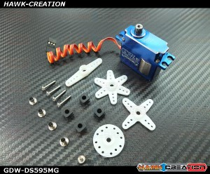 GDW DS595MG Digital Mini Size Tail Servo (Coreless 5.5Kg.cm@8.4V,0.03sec/60degree)