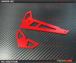 Hawk Creation Neon Red Fiberglass Hor/Ver Fins - GAUI X3