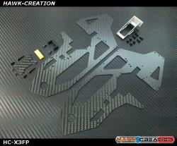 Hawk Creation GAUI X3  1.5mm Carbon Frame Plate L+R With Metal Tail Servo Mount