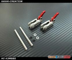 Hawk Creation GAUI X3 Metal Main Rotor Grips (Silver) with 2pcs Sipndle