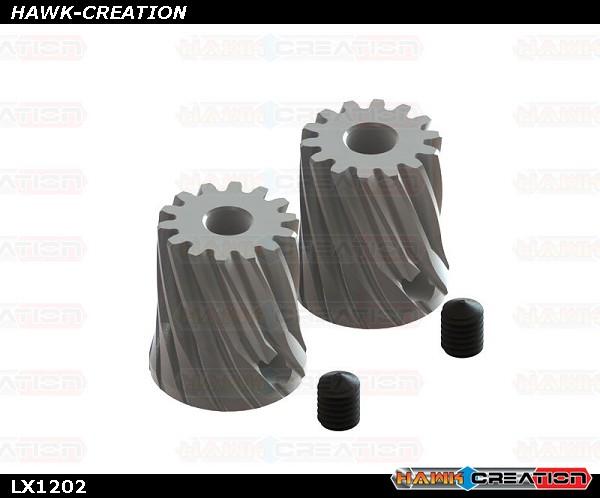 GAUI X3 - Carbon Steel Pinion 14T - Motor Shaft 3.17 / 3.50 Set