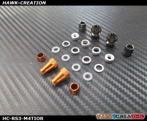 Hawk Creation Anti-Slip Stick Rocker End For JR XG8,11,14 (M4, Titanium+Orange Colour) - New Colour Mix