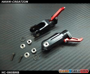 Hawk Creation LOGO 600/SE Metal Main Rotor Grips V2 (Black, Red Arm)-New