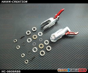 Hawk Creation LOGO 600/SE Metal Main Rotor Grips V2 (Silver, Red Arm) With Bearing Set