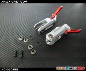 Hawk Creation LOGO 600/SE Metal Main Rotor Grips V2 (Silver, Red Arm)-New