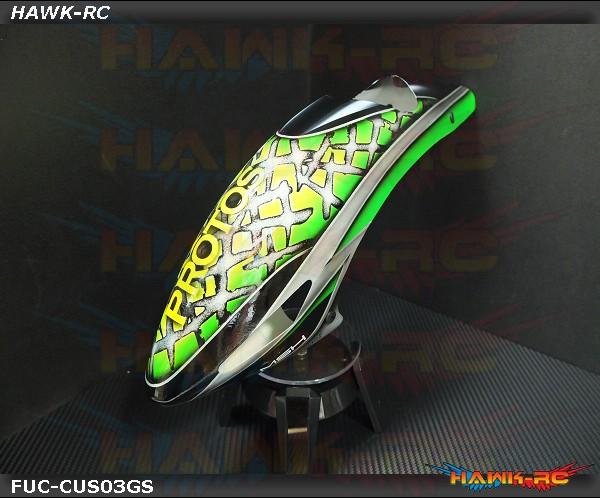 FUSUNO Fiberglass Canopy Protos 380 Evo with custom design 3 ( Green Salaca)