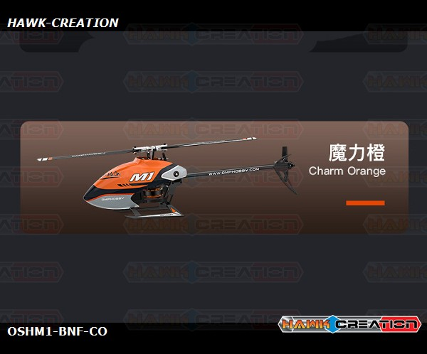 OMPHOBBY M1 3D Helicopter BNF - Chram Orange (Futaba Recevier)