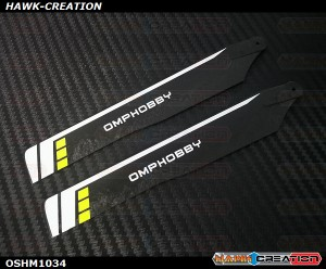 OMPHOBBY M1 3D Helicopter 125mm Main Blades(Yellow)-(Hard) OSHM1034