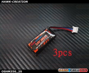 OMPHOBBY M1 50C 7.4V 2S 350mAh LiPo Battery for M1 Helicopter T720 S720 Airplanes - 3pcs
