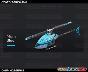 OMPHOBBY M2 Dual-brushless Motor Direct-drive 3D Heli-BNF (Miami Blue) with Bonus Pack