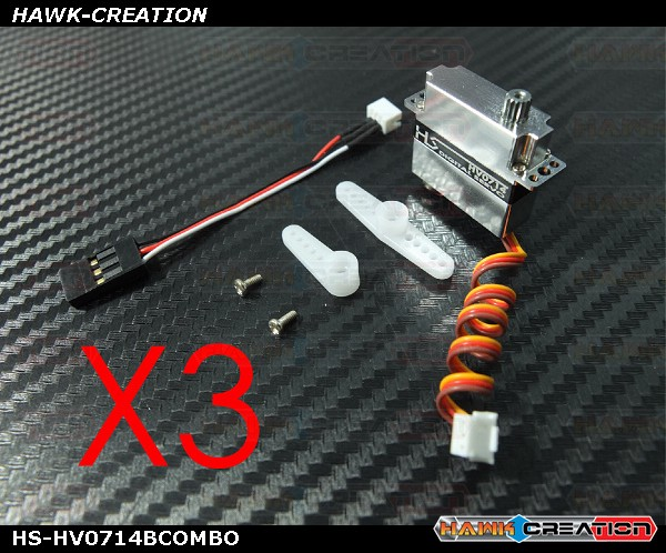 HV0714 Ultra Micro Size Digital Servo (Black) for OXY2 - 3pcs Combo