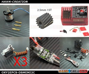 OXY2 Electronic Parts Combo Set-D05180MServo with H0988UHS-i+Motor+ESC+MicroIKON2 Combo [OXY2EPCS-DSMEMI2C]