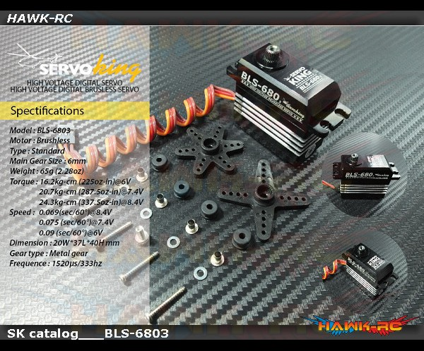 ServoKing BLS-6803 Digital Standard Size Brushless Servo (0.069s, 24.3kg @ 8.4V)