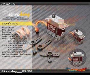 Servoking DS-999i Digital Micro Size Tail Servo (5~7.4V, Narrow Band, Steel Gear)