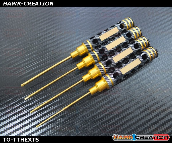4pcs Hex Drivers 1.5/2.0/2.5/3.0mm Combo With Light Weight Handle Design