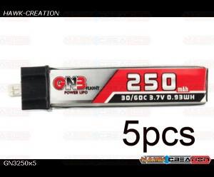 GAONENG 3.7V 250mAh 1S 30C/60C Lipo Battery for Blade Nano QX CP - 5pcs