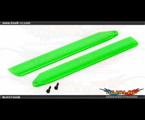 Hi-Performance Main Rotor Blade Set, Green: 130 X