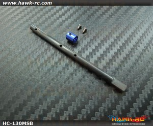 Hawk Creation 4mm Solid CF Main Shaft + CNC Collar (Blue) For 130 X
