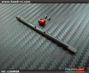 Hawk Creation 4mm Solid CF Main Shaft + CNC Collar (Red) For 130 X
